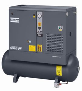 GX 2 FF Oil-injected screw compressor with elektronikon controller. Tankmounted version with built-in refrigerant dryer.